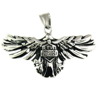 Stainless Steel Live To Ride Eagle Pendant.