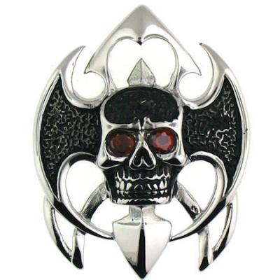 Large Stainless Steel Red CZ Eyes Skull Pendant