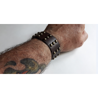 Biker Brown Leather Bracelet
