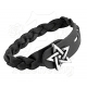 Pentagram-Black Leather Bracelet