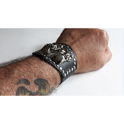 Skull and Bones Biker Leather Bracelet