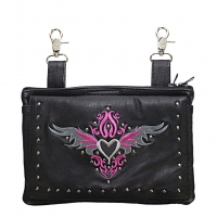 Studded Belt Bag with Pink & Silv..
