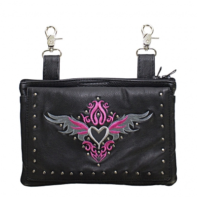 Studded Belt Bag with Pink & Silver Heart