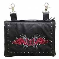 Studded Belt Bag with Red & Silve..