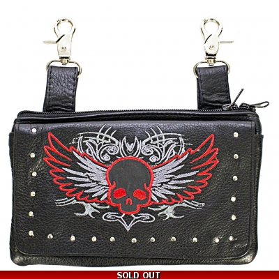 Studded Leather Red Skull Belt Bag