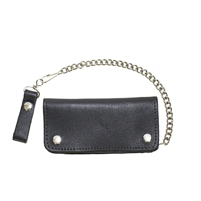 Heavy Duty Black Leather Motorcycle Chain Wallet