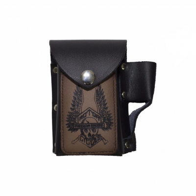 All Leather Winged Skeleton Cigarette and Lighter Case