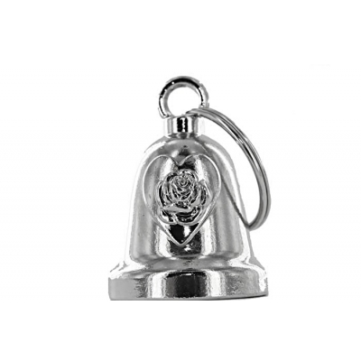 Rose & Heart Chrome Motorcycle Bell