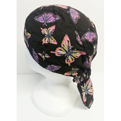 Biker Head Wrap Black with Butterflies