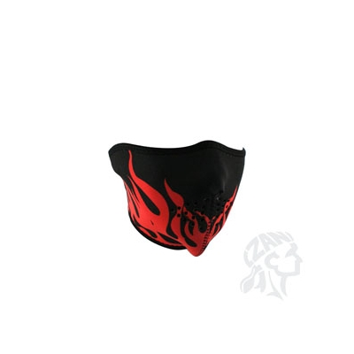 Neoprene Face Mask, Black with Red Flames