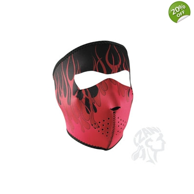 Full Mask, Neoprene Black with Pink Flames