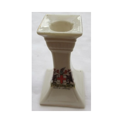 Crested China Candlestick - City of London