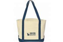 12 oz. Canvas Boat Tote - Natural/Navy