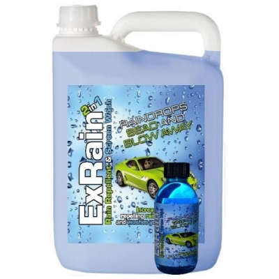 5 LITRE EXRAIN SCREENWASH AND RAIN REPELLENT CONCENTRATE - WILL MAKE 100 LITRES title=