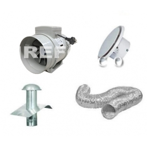 Bathroom Exhaust Kit - 150mm Inline Turbo Fan