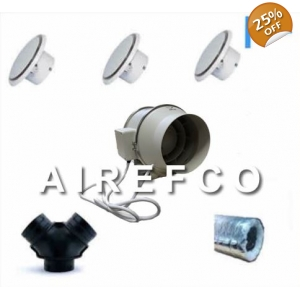 Two Room Transfer Kit - 200mm inline Airefco fan