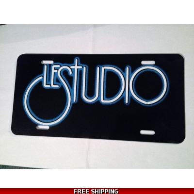 Le Studio License Plates Black White & Blue Logo