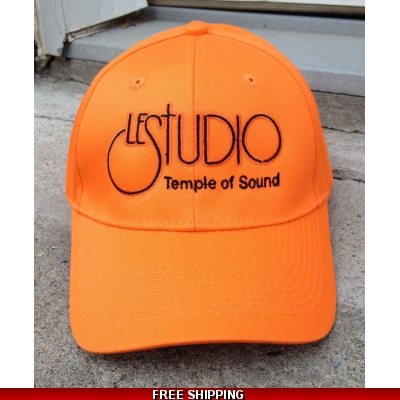 Le Studio Orange Baseball Hat Black  Front Logo TOS