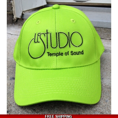 Le Studio Lime Baseball Hat Black Front Logo TOS