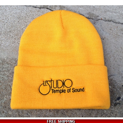 Le Studio Yellow Winter Hat Black  Front Logo TOS