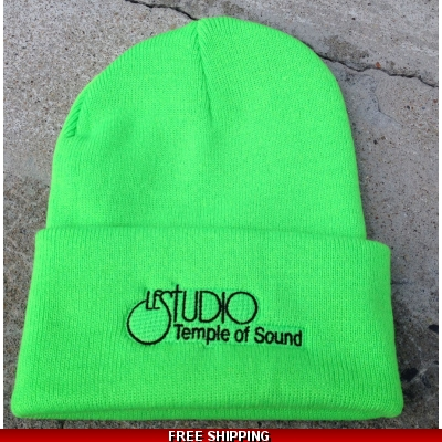 Le Studio Lime Green Winter Hat Black Front Logo TOS