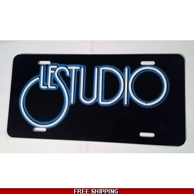 Le Studio License Plates Black White & Blue Logo N/C