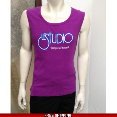 Le Studio Men Purple Tank Top White & Blue Front Logo