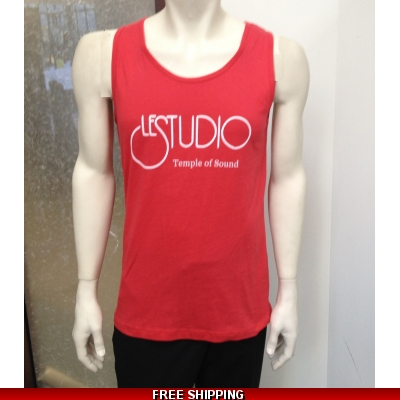 Le Studio Men Red Tank Top White Front Logo