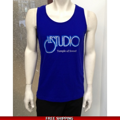 Le Studio Men Blue Tank Top Silver & Blue Front Logo