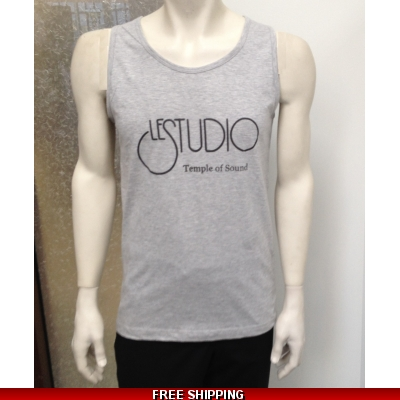 Le Studio Men Grey Tank Top Black Front Logo N/C