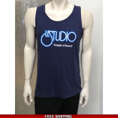 Le Studio Men Blue/Grey Tank Top White & Blue Front Logo