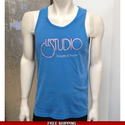 Le Studio Men Light Blue Tank Top Silver & Grey Front Logo