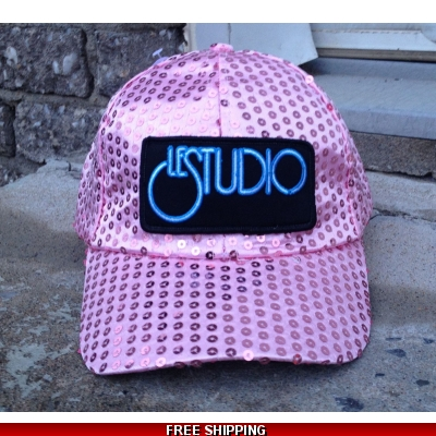 Le Studio Light Pink Sparkle Baseball Hat W & B Front Logo