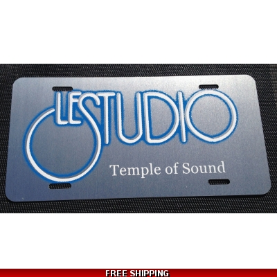 Le Studio License Plates Silver White & Blue Logo TOS