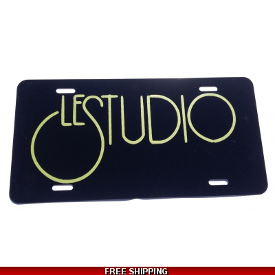 Le Studio License Plates Black Lime Green Logo