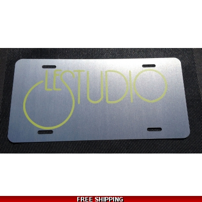 Le Studio License Plates Silver Lime Green Logo