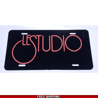 Le Studio License Plates Black Pink Logo