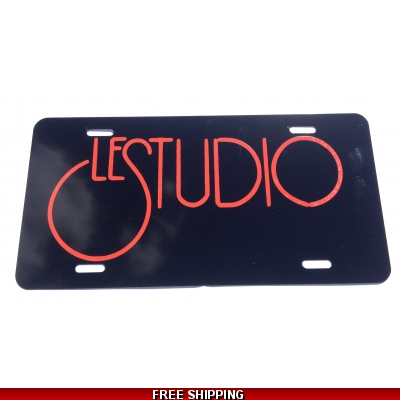 Le Studio License Plates Black Red Logo