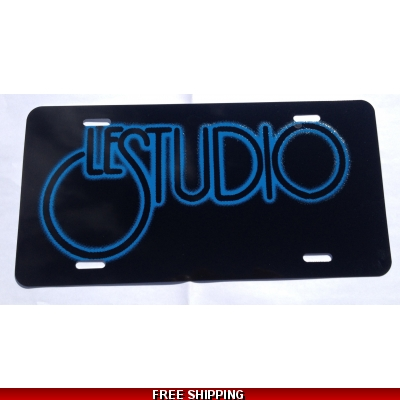 Le Studio License Plates Black  Blue Logo N/C