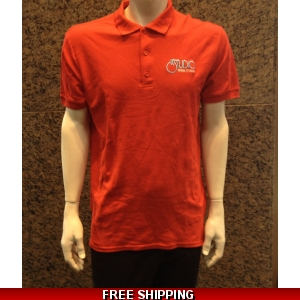 Le Studio Red Gildan Polo Shirt {White & Blue Embroidered Front Logo}