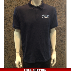 Le Studio Navy Blue Gildan Polo Shirt {White & Blue Embroidered Front Logo}