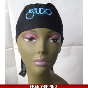 Black  Bandana Hat White & Blue Embroid Front Logo