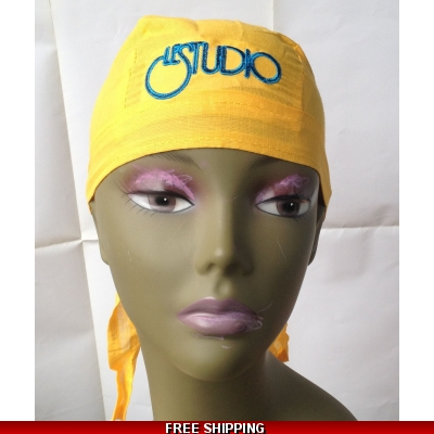 Golden Yellow Bandana Hat Black & Blue Embroid Front Logo