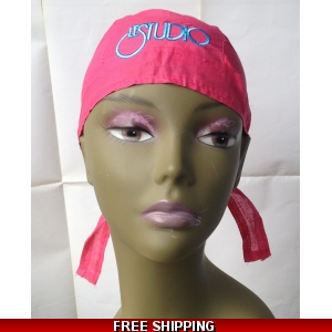 Hot Pink Bandana Hat White & Blue Embroid Front Logo