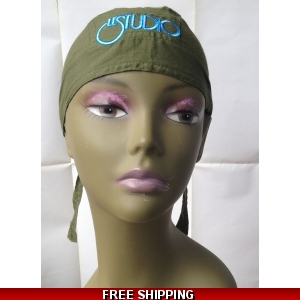 Light Army Green Bandana Hat White & Blue Embroid Front Logo