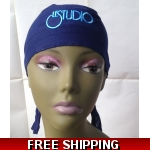 Navy Blue Bandana Hat White ..