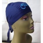 Navy Blue Bandana Hat White & Blue Embroid Front Logo