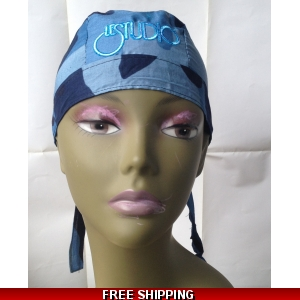 Combat Blue Bandana Hat White & Blue Embroid Front Logo