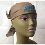 Light Brown Bandana White & Blue Embroid Front Logo