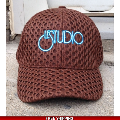 Le Studio Brown Baseball Hat W & B  Front Logo